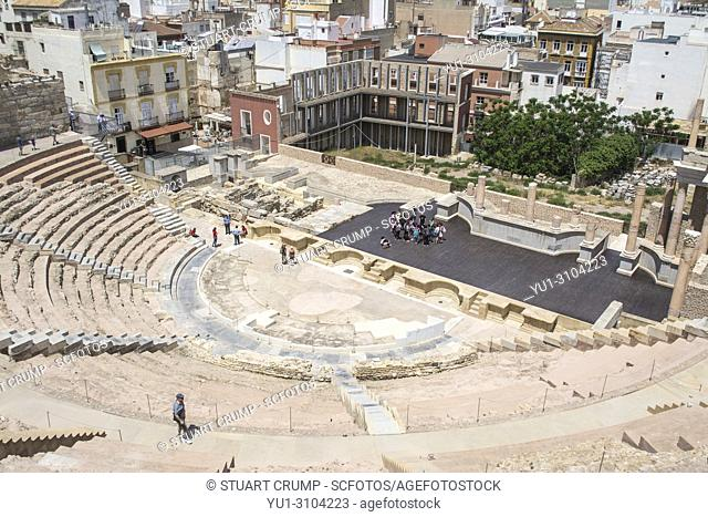 A group of children in the roman amphitheatre in the Spanish city of Cartagena, Murcia