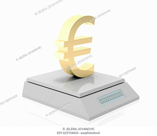 golden euro symbol measured its weigh on digital scale