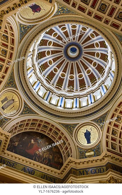 Dome ceiling inside Pennsylvania state capitol building in Harrisburg
