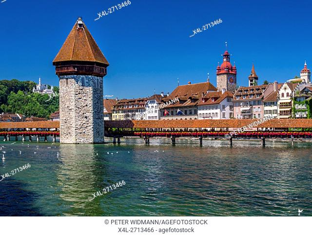 Chapel Bridge and Water Tower in Lucerne, Switzerland, Europe