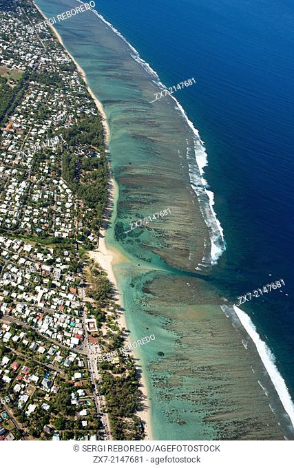 Helicopter Flying over the St Gilles-les-bains in the Reunion Island. Helicopter flight †¨ To really realize the power that nature shows nothing better to...