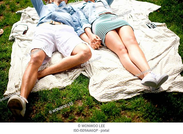 Young couple lying in park and holding hands
