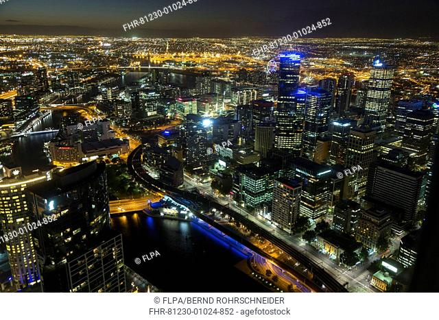 View of river and city skyline at night, looking from Eureka Tower, Yarra River, Melbourne, Victoria, Australia, February
