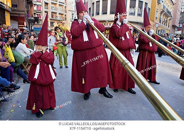 `Bocinas' Easter Monday procession Cofradia del Santísimo Cristo del Perdón Holy Week  Murcia  Spain