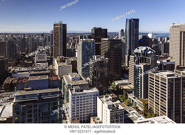 High shot of business district in downtown Vancouver, Canada