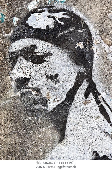 Stencil des im September 1996 erschossenen Rappers Tupac Amaru Shakur, auch Tupac, 2Pac und Makaveli genannt. Am 13. September 1996 um 4:03 Uhr erlag Shakur den...