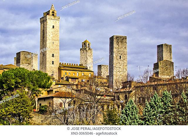 San Gimignano, Town of Fine Towers, medieval hill town, medieval architecture, UNESCO World Heritage, Siena province, Tuscany, Italy, Europe
