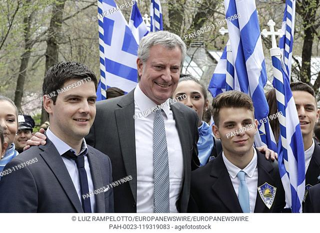 Fifth Avenue, New York, USA, April 14, 2019 -Thousands of Peoples in Traditional Greek Costumes, Dignitaries along with New York City Mayor Bill De Blasio...