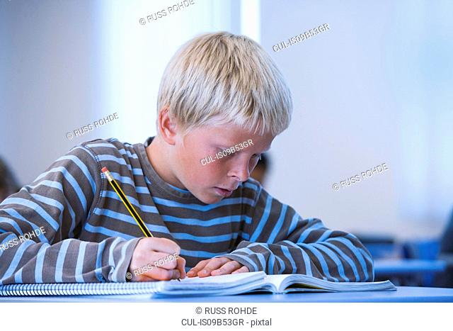 Boy in classroom, sitting at desk, doing classwork
