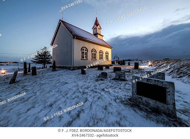Rural church near of Selfoss city, Iceland