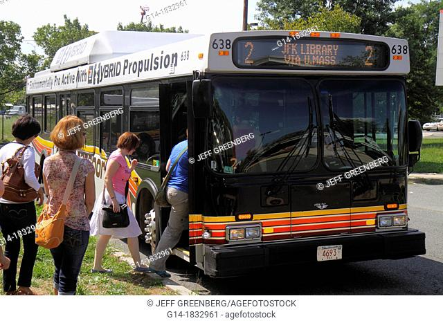 Massachusetts, Boston, South Boston, JFK/UMass Station, MBTA, T, Red Line, subway, bus transfer, JFK Library, passengers boarding, hybrid
