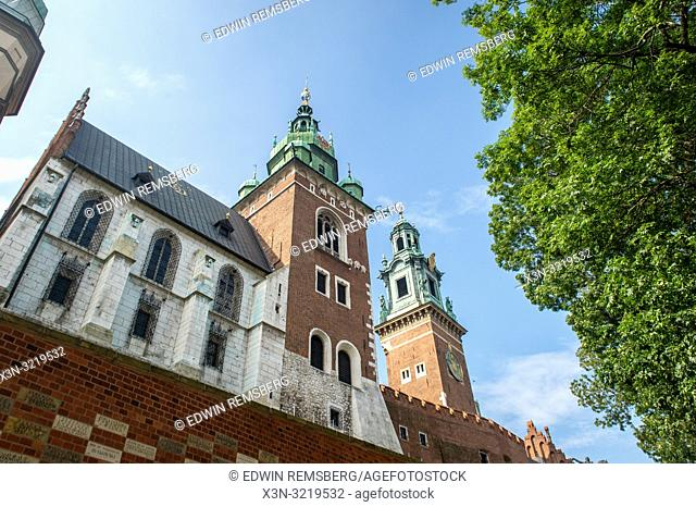 Towers on the outer walls of Wawel Royal Castle, Krak—w, Lesser Poland Voivodeship, Poland
