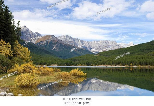 kananaskis lower lake in autumn, alberta canada