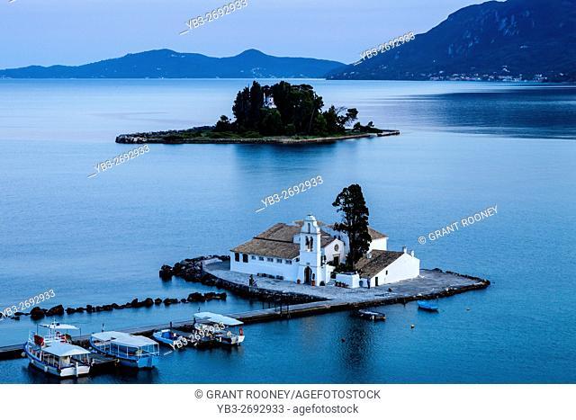 Vlacherna Monastery and Mouse island, Kanoni, Corfu, Greece