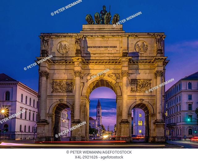 Siegestor - Victory Gate by Night in Munich, Bavaria, Germany, Europe