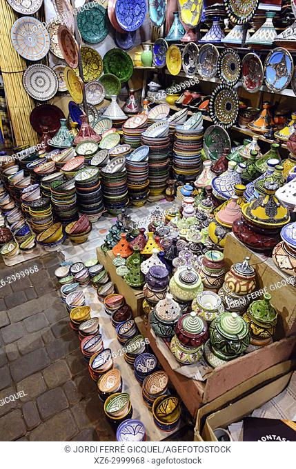 Typical stand with ceramics in the souk of Marrakech, Medina of Marrakesh, Morocco, Africa