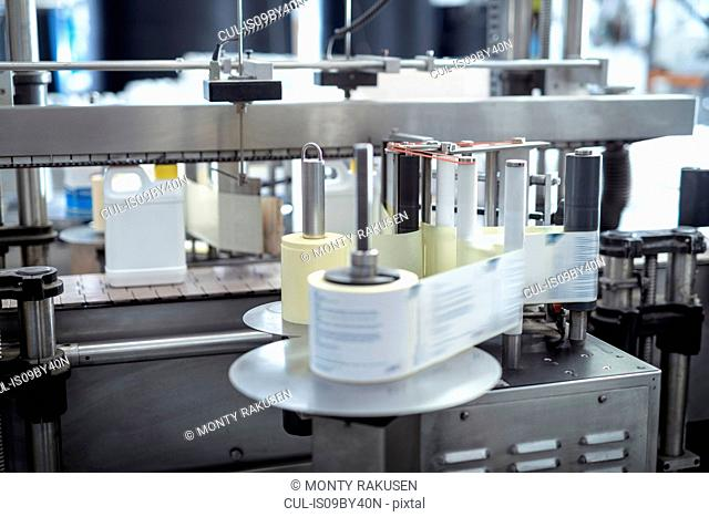 Labelling machine in chemical factory