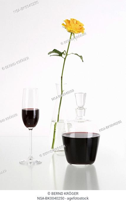 red wine and tea rose