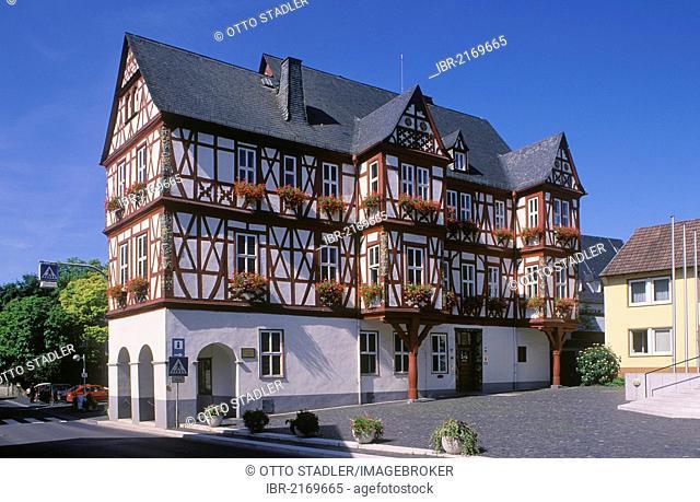 Town hall and Adolzheimer Hof, historic building, Nassau, Westerwald district, Rhineland-Palatinate, Germany, Europe