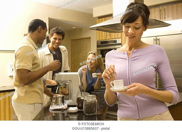 Group of adults drinking coffee