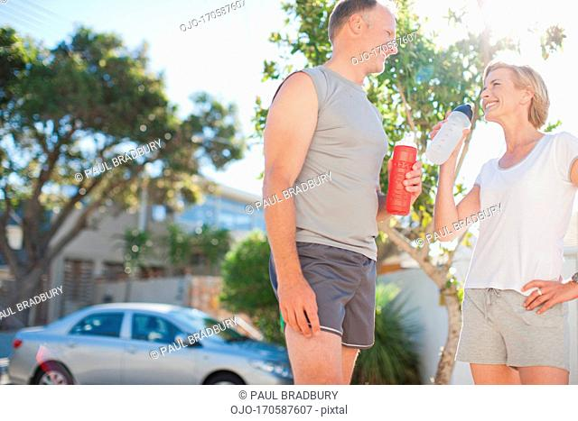 Couple relaxing after exercise