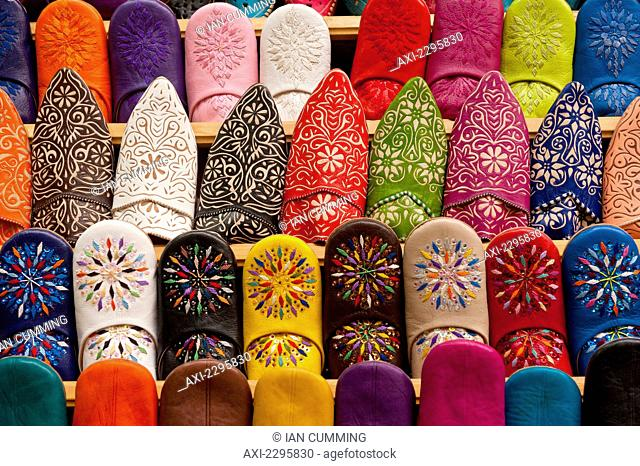 Babouche slippers for sale in shop in souks; Fez, Morocco