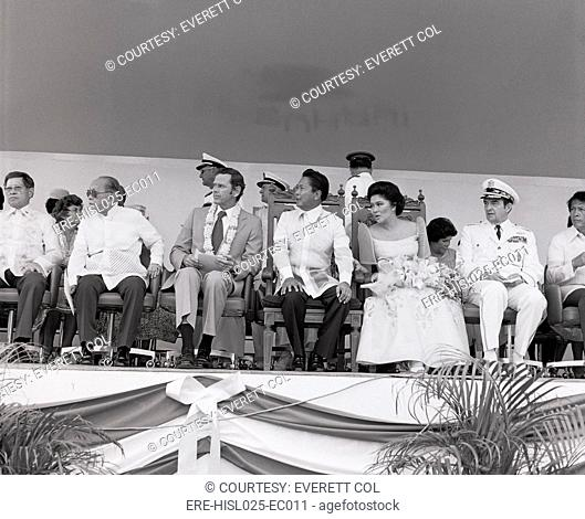 Clark Air Force Base turnover ceremonies on Mar. 14 1979. L-R Foreign Minister of the Philippines Carlos P. Romulo U.S. Ambassador Richard W