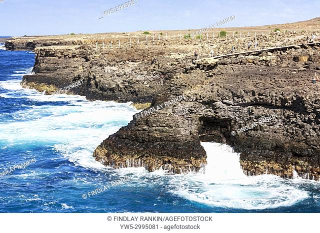 Rugged coastline at the tourist attraction of Baracona, on the west coast of Sal Island, Salinas, Cape Verde, Africa