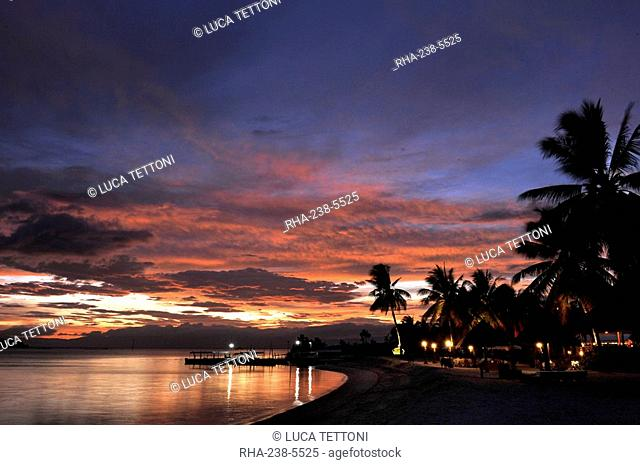 Sunset view of the beach, Badian Island Resort and Spa in Cebu, Philippines, Southeast Asia, Asia