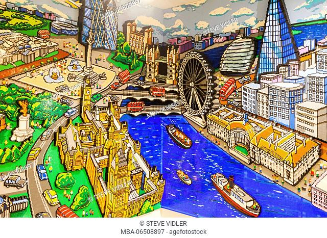 England, London, Leicester Square, Lego Store, Wall Mural made of Lego depicting Famous London Landmarks