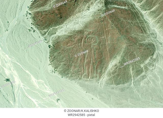 Aerial View of Astronaut Geoglyph, Nazca Lines, Peru