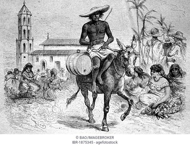 Water seller in Barranquilla, Colombia, historical illustration, circa 1886
