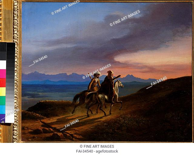Memory of Caucasus by Lermontov, Mikhail Yuryevich (1814-1841)/Oil on canvas/Romanticism/1838/Russia/Institut of Russian Literature IRLI (Pushkin-House)