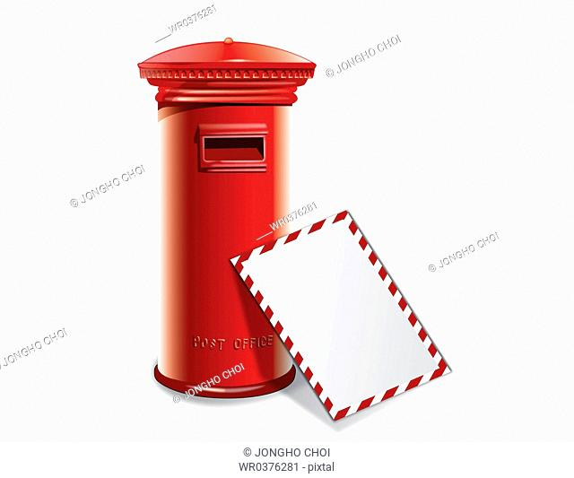 illustration of vintage item red postbox
