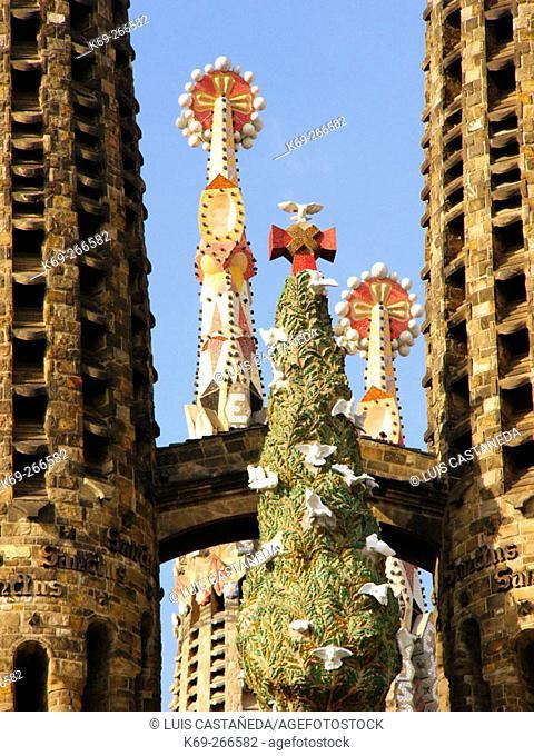 Sagrada Familia towers by Gaudí. Barcelona. Spain