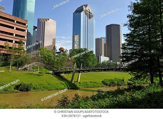 Hobby Center pedestrian bridge in the Buffalo Bayou Park, Houston, Texas, United States of America, North America