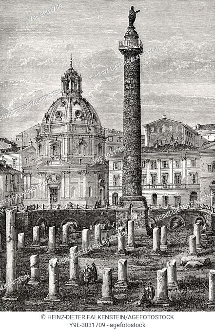 Remains of the Basilica Ulpia, Church of the Most Holy Name of Mary at the Trajan Forum, Rome, Italy, 19th Century