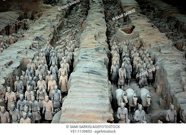 The Terracotta Army, an ancient collection of sculptures depicting the armies of Qin Shi Huang, the First Emperor of China, in Xi'an, Shaanxi, China