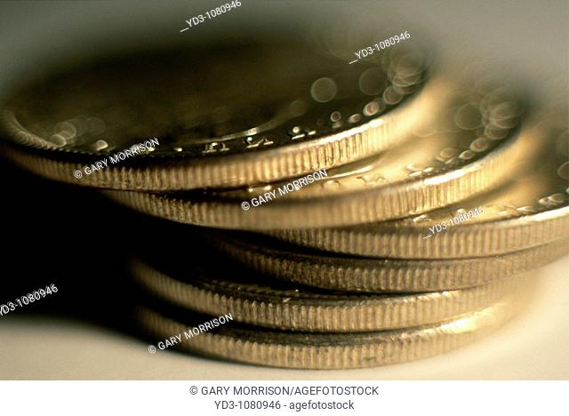 Stack of silver dollar coins, US currency
