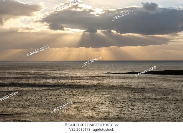 Spain, Canary Islands, La Graciosa, sunset view from Playa Francesa