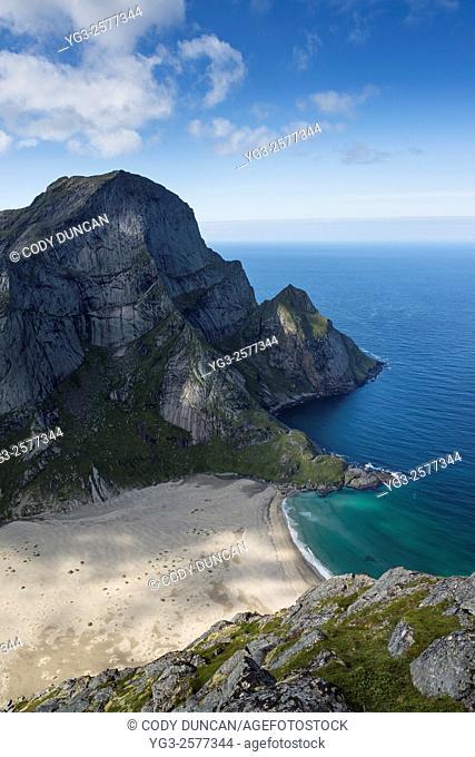 Bunes beach viewed from Helvetestind, Moskenesøy, Lofoten Islands, Norway