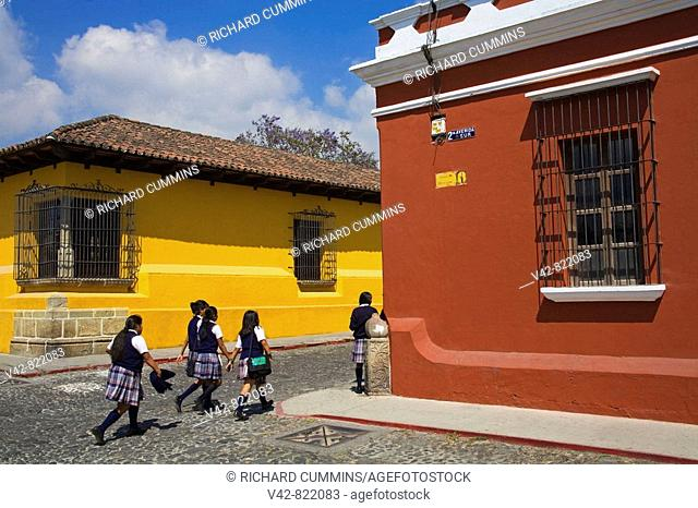 School Girls, Antigua City, Guatemala, Central America
