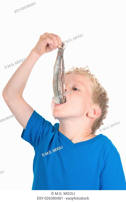 Little boy eating a herring. It is a Dutch tradition to eat a herring like this. In Holland they also call a herring a Maatje