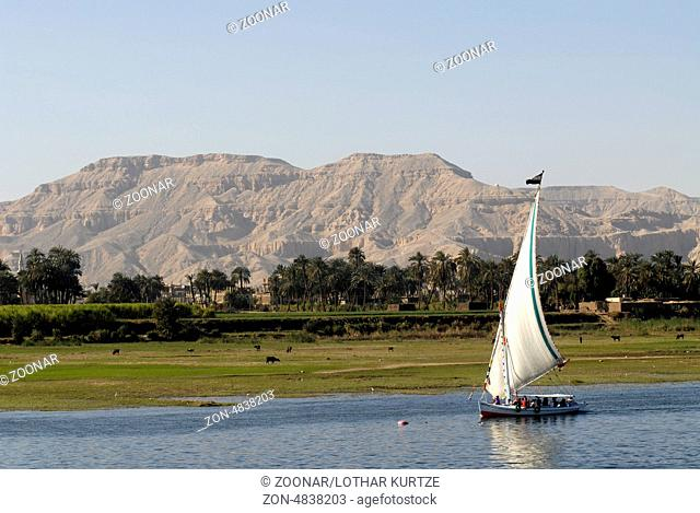 Sailing boat on the river Nile near Luxor