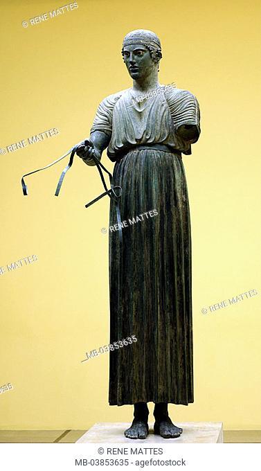 Greece, Delphi, museum, statue, 'charioteers', series, Europe, mainland, sight, art, culture, exhibit, exhibit, figure, bronze-statue, 5  Jh  v  Ch
