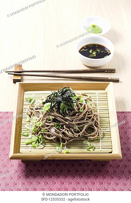 Soba noodles with spring onions, nori strips and cold mentsuyu sauce