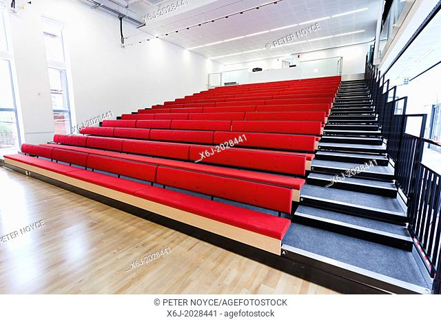 open retractable seating in school hall at Notting Hill Ealing High School