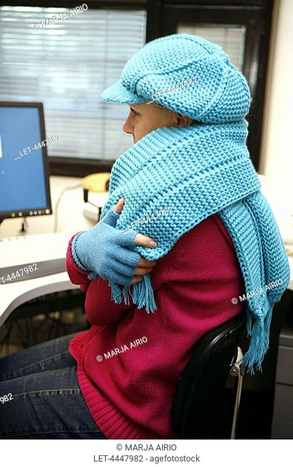 Woman working in chilly office  Draft  Scarf