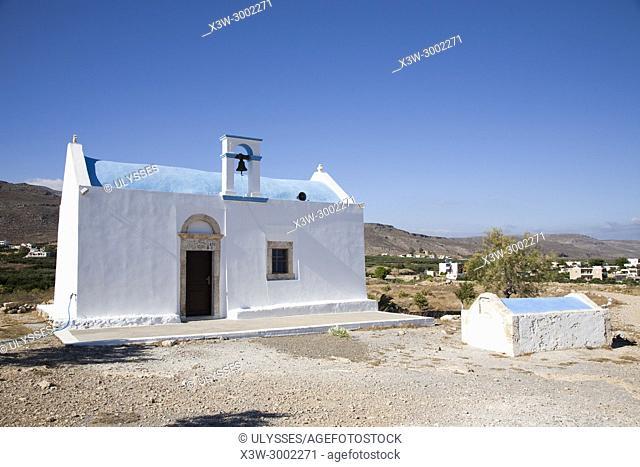 Ancient Orthodox curch, Xerokambos, Crete island, Greece, Europe