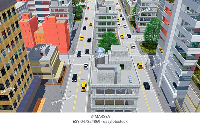 Aerial view of street traffic in abstract city downtown with modern high rise buildings in cartoon style at daytime. 3D illustration from my own 3D rendering...